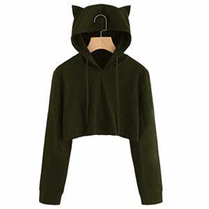 Hoodies Cosplay Fun Chat Sweat à Capuche Femmes, Printemps Automne Hiver Sweat-Shirt Manteau Veste Slim Oreilles De Chat Couleur Unie (Vert, XL(EU=40))