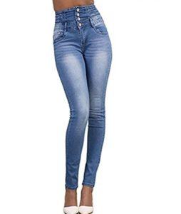 LAEMILIA Pantalons Femme Denim Printemps Jeans Slim Taille Haute Leggings Sexy Collant Crayon Déchirés (FR44=Tag XXL, Bleu Clair)