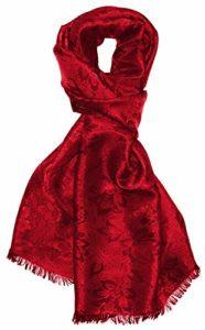 LORENZO CANA Foulard damas pour la femme – écharpe noble avec les mesures de 55 x 190 cm – motif de fleurs – élégant et léger pour le printemps et lŽété en rouge rubis