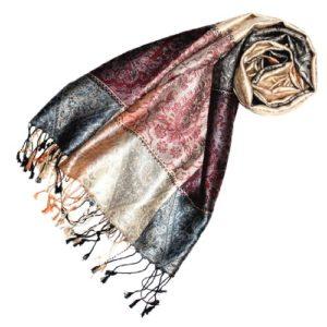 LORENZO CANA Pashmina pour la femme – écharpe de 100% soie avec les mesures de 70 x 190 cm – fait à la main – souple élégant en beige gris argenté bleu bordeaux saumon