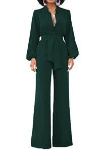 Minetom Combinaison élégante à Manches Longues pour Femme – Vert – 48