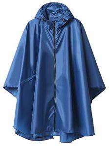 Summer Mae Imperméable Poncho avec Capuche Zip pour Adulte Bleu foncé Large