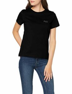 Superdry OL Elite Crew Neck Tee T-Shirt, Noir (Black 02A), 42 (Taille Fabricant: Large) Femme