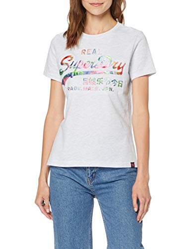 Superdry V Logo Photo Tropical Infill E Pull sans Manche, Blanc (Ice Marl 54g), Small (Taille Fabricant: 10) Femme